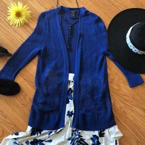 🌺 Ann Taylor Cobalt Blue Open Weave Sweater Sz L!